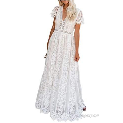 Lovezesent Women's Floral Lace V Neck Short Sleeve Bridesmaid Wedding Party Evening Dress