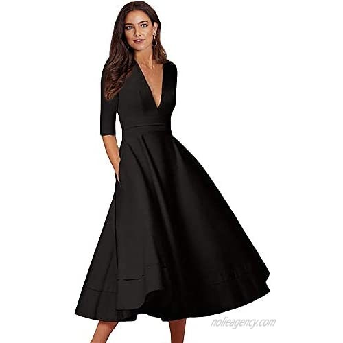 LALAGEN Womens Vintage 3/4 Sleeve V Neck Flare Plus Size Cocktail Party Midi Dress