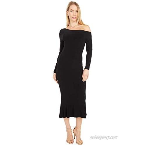 Norma Kamali Women's Longsleeve Drop Shoulder Fishtail Dress to Midcalf