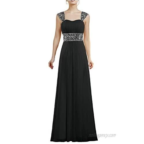 ANTS Women's Bead Chiffon Cap Sleeve Evening Wedding Guest Dresses