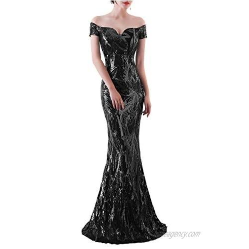 Aura-Fashion Women's Off-Shoulder Sequins Sweep-Train Mermaid Evening Dress