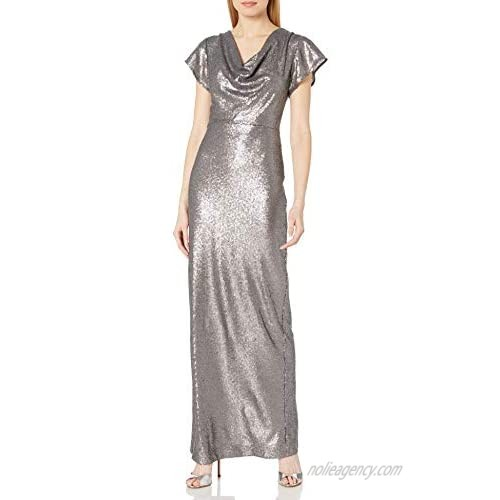 Halston Heritage Women's A-line Cowl Sequined Gown