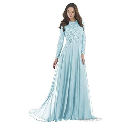 Lace Mother of The Bride Dresses Formal Prom Dresses for Women Long Sleeve Evening Gown Floor Length Gowns 2021