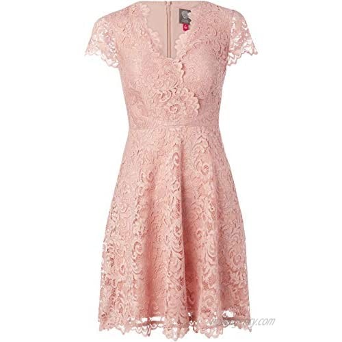 Vince Camuto Women's Lace Fit and Flare Cap Sleeve Dress