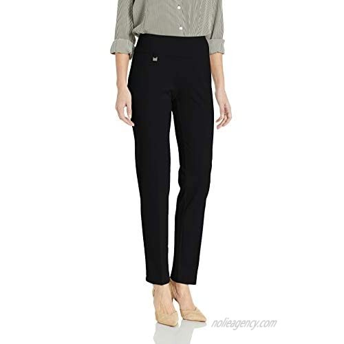 SLIM-SATION Women's Pull on Solid Knit Easy Fit Narrow Leg Pant with Tummy Panel