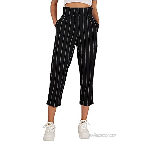 TIMEMEANS Women's Casual Trousers Striped Slim Straight Leg Button Pants with Pockets