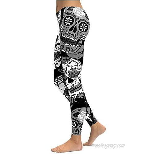Women's Sugar Skull Printed Leggings Brushed Buttery Soft Ankle Length Tights
