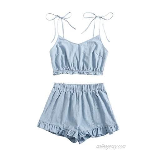 Milumia Women's 2PCS Outfit Spaghetti Strap Cami Crop Top and Ruffle Hem Shorts Set