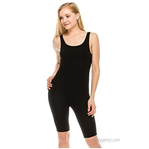 The Classic Womens Catsuit Cotton Stretch Knee Length Active One Piece Footed Jumpsuit