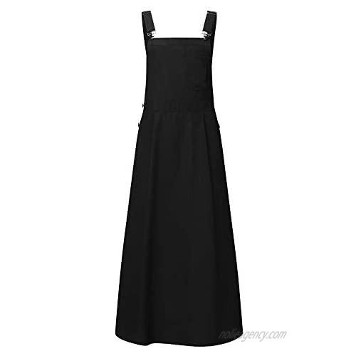 chouyatou Women's Adjustable Strap A-Line Pinafore Bib Maxi Long Overall Dress