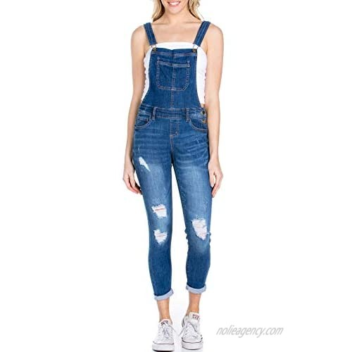 Design by Olivia Women's Casual Destroyed Overalls w/Rolled Cuffs