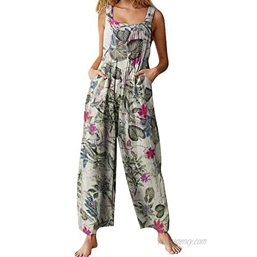 Honganda Women's Loose Jumpsuit  Printed Sleeveless Wide Leg Pants Overalls with Buttons