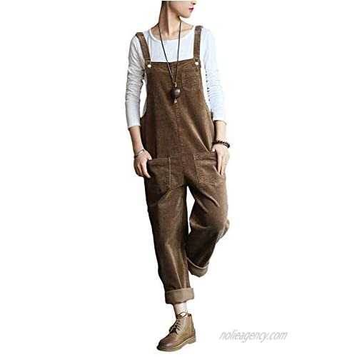 Lentta Women's Casual Loose Corduroy Bib Overall Jumpsuits Wide Leg Pants with Pockets