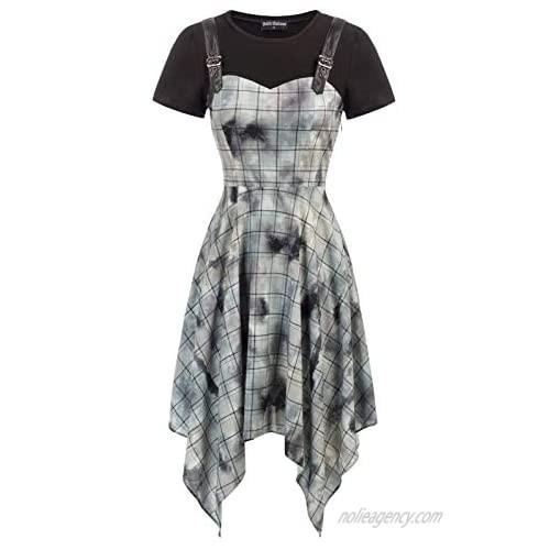 SCARLET DARKNESS Women's Gothic Dress Tie Dye Handkerchief Hem Steampunk Dresses