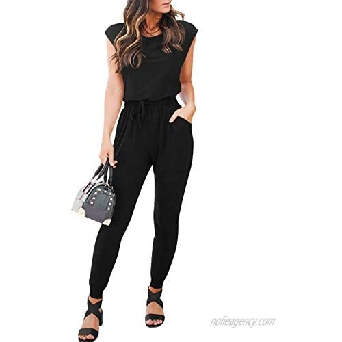 ANRABESS Women's Summer Casual Cap Sleeve Crewneck High Wasit Jumpsuits Rompers with Pockets