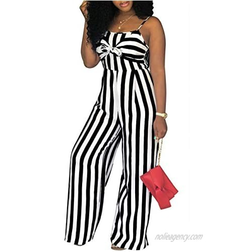 PerZeal Women's Sexy Spaghetti Strap Stripe Jumpsuits Casual Wide Leg Long Pants Rompers Sleeveless Ladies Outfits