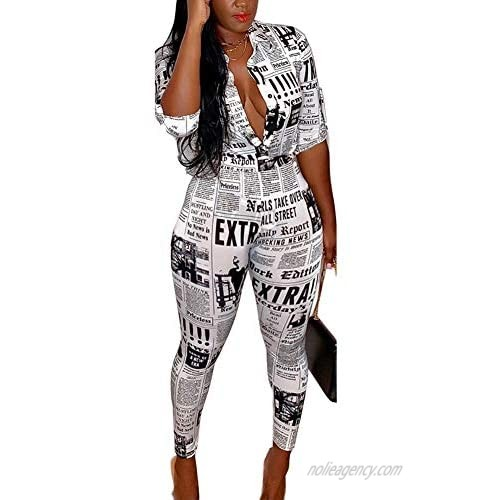 Sexy Club Outfits for Women - Two Piece Outfits for Party Night Newspaper Print Shirt Long Pants Tracksuit Outfits