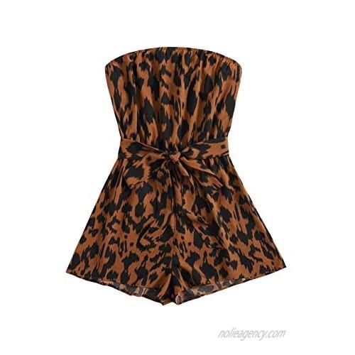 SweatyRocks Women's Off Shoulder Floral Print Playsuit Strapless Romper Short Jumpsuit