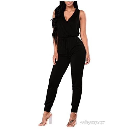 VamJump Womens Casual Sleeveless Jumpsuit Wrap Front V Neck Drawstring Summer Jumpsuit Outfits