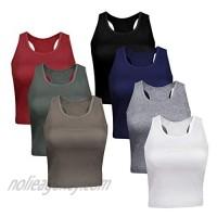 AUXSOUL 7 Pieces Cotton Basic Crop Tank Tops Sleeveless Sports Racerback Tanks Tops for Women