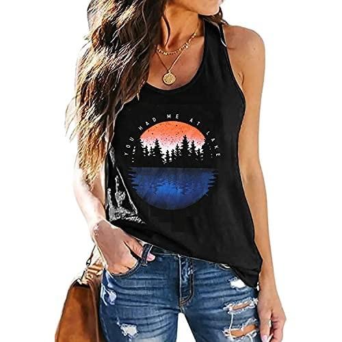 You Had Me at Lake Tank Top Women Summer Vacation Sleeveless Shirt Funny Graphic Camping Novelty Tees