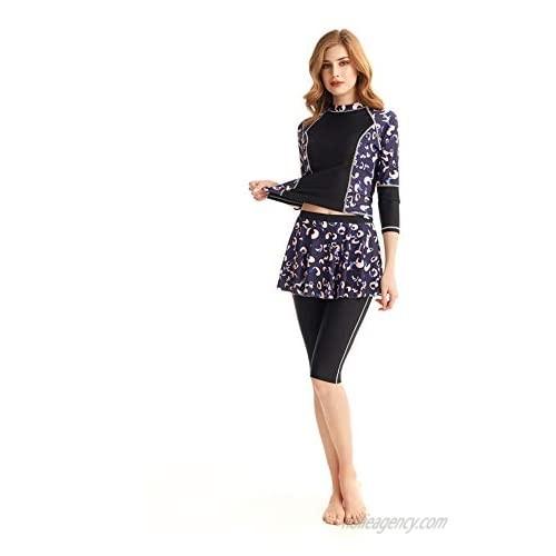 KXCFCYS Womens Long Sleeve Rashguard Shirt Color Block Print Tankini Swimsuit