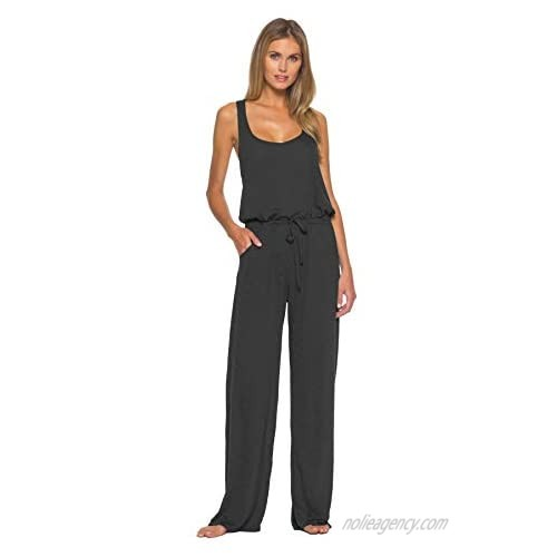 Becca by Rebecca Virtue Women's Breezy Basics Tie-Front Jumpsuit Swim Cover Up