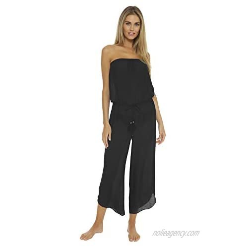Becca by Rebecca Virtue Women's Wovens Strapless Jumpsuit Swim Cover Up