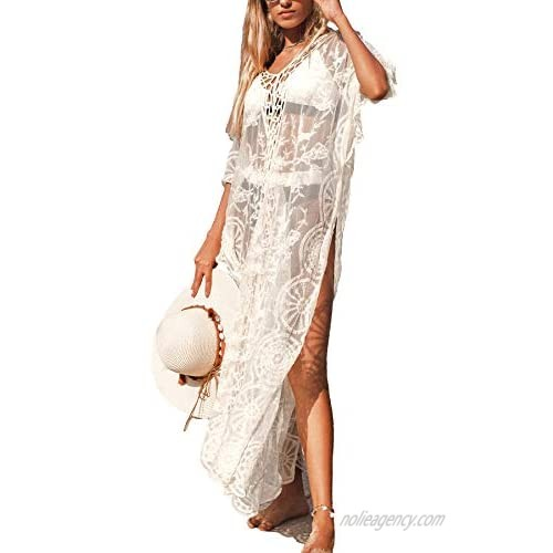 CUPSHE Women's White Crochet Kaftan Side Slits Hollow Out Half Sleeves Ankle Length Cover Up