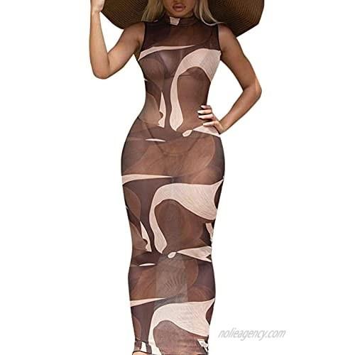 Kafiloe Women Sexy Print Sheer Mesh Cover Up Dress Mock Neck Sleeveless Bodycon Maxi Dress Color Block Club Dresses
