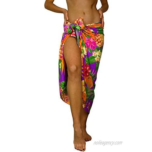 King Kameha Hawaiian Sarong Pareo Beach Wrap for Women Funky Casual Bikini Cover Up Very Loud Swimsuit Pineapple Print