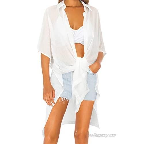 RUUHEE Women Button Down Swim Cover up Side Split Half Sleeve Shirt Bikini Beachwear Dress
