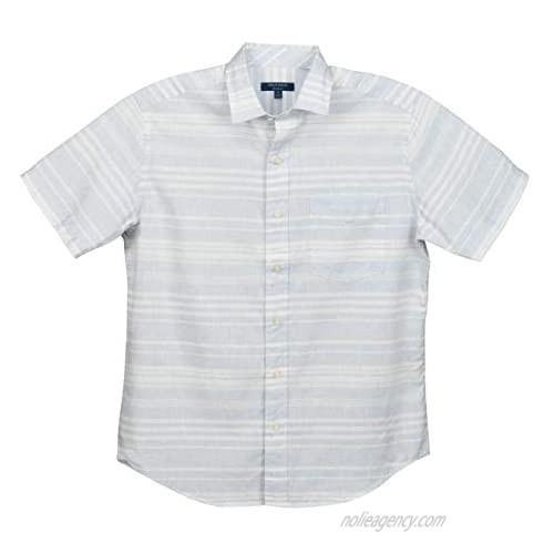 Cole Haan Men's Short Sleeve Buttondown Linen Blend Shirt