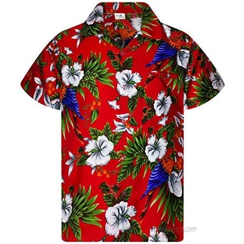 King Kameha Funky Casual Hawaiian Shirt for Men Front Pocket Button Down Very Loud Shortsleeve Unisex Cherry Parrot Print