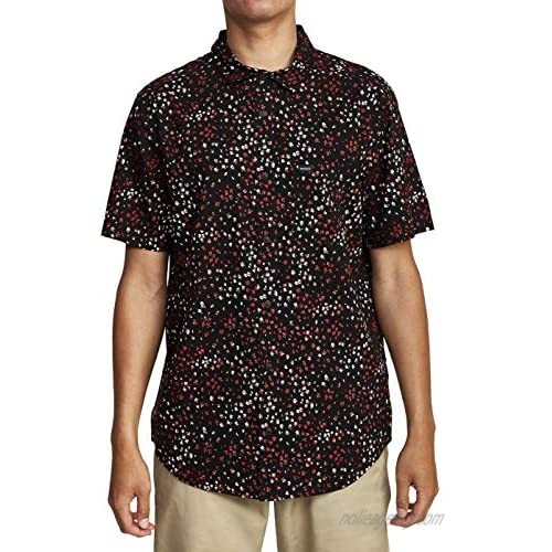 RVCA Men's Oliver Short Sleeve Woven Button Front Shirt
