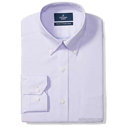 """Brand - Buttoned Down Men's Tailored-Fit Button Collar Pinpoint Non-Iron Dress Shirt  Purple  15"""" Neck 33"""" Sleeve"""