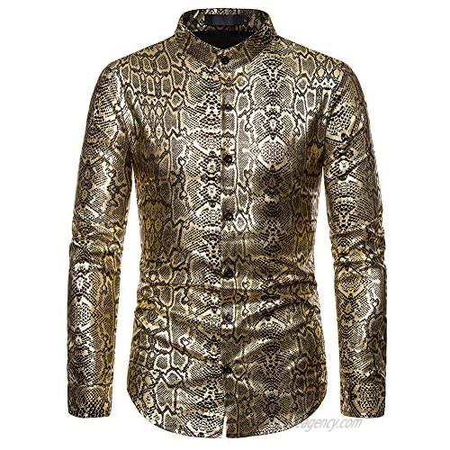 Elegeet Mens Gold Snakeskin Pattern Printed Dress Shirt Shiny Stylish Nightclub Banded Collar Shirt
