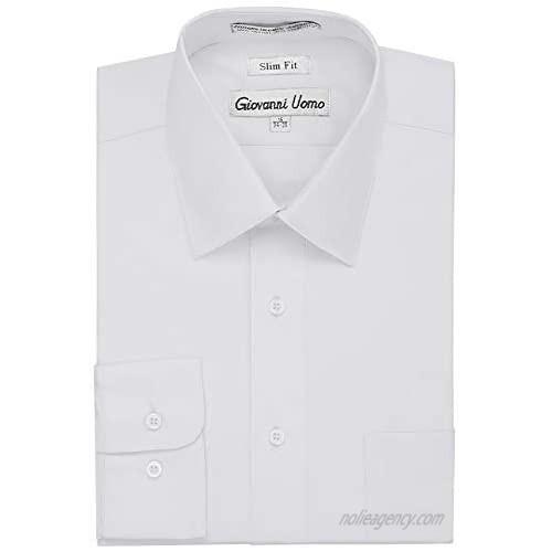Gentlemens Collection Men's Slim Fit Long Sleeve Solid Dress Shirt