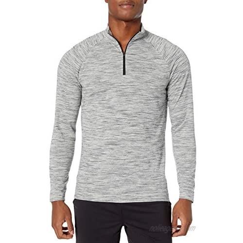 Peak Velocity Men's Merino Wool Jersey Quarter-Zip Mock-Neck Long Sleeve Shirt