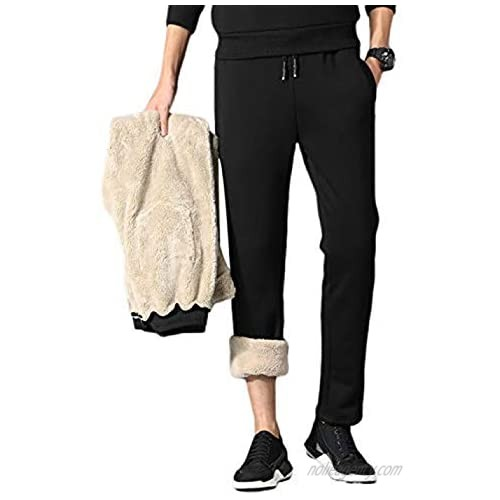 Yeokou Mens Thicken Sherpa Lined Athletic Thermal Jogger Fleece Sweatpants Pants