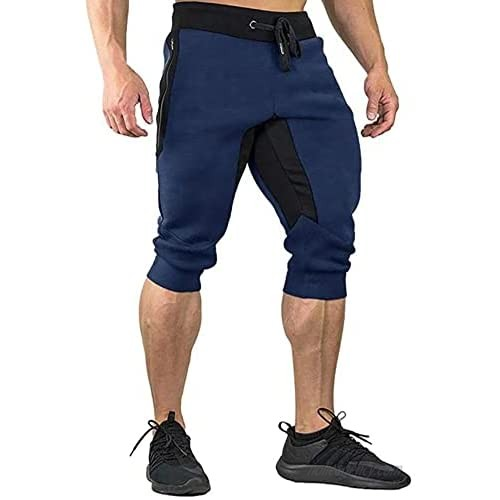 BUXKR Men's 3/4 Jogger Pants Capri Shorts with Zipper Pockets for Gym and Workout