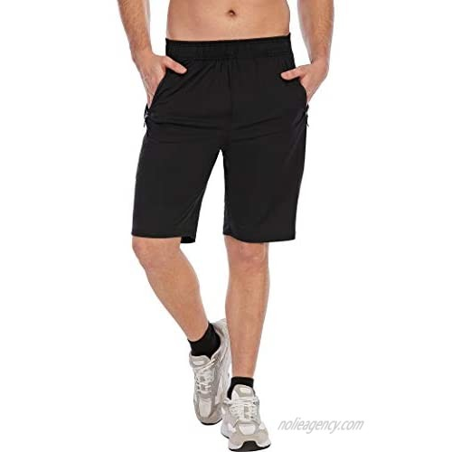 SHURONG Men's Gym Workout Running Shorts Classic Dry Fit Athletic Sweat-Shorts with Zipper Pockets