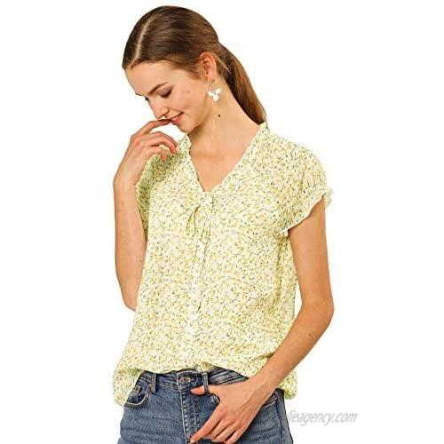 Allegra K Women's Floral Chiffon Blouse Short Sleeve Ruffled Ditsy Tops