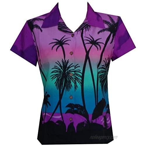 ALVISH Womens Hawaiian Shirt Aloha Beach Top Blouse Casual Funny Summer Leaves