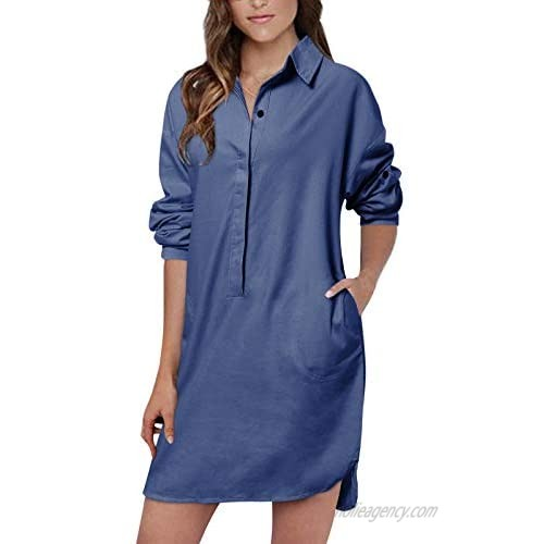 Auxo Women's Lapel Button Down Shirt Dress Long/Short Sleeve Tunic Blouse Casual Chambray Boyfriend Shirt Tops with Pockets