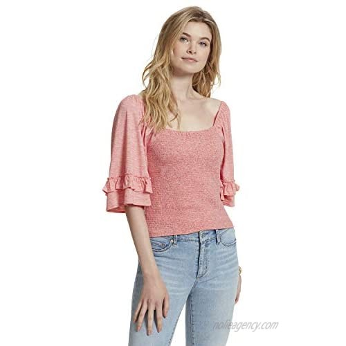 Jessica Simpson Women's Sylvia Butterfly Elbow Sleeve Smocked Top