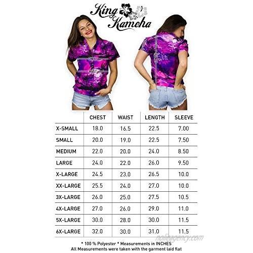 King Kameha Hawaiian Blouse Shirt for Women Funky Casual Button Down Very Loud Shortsleeve Surf
