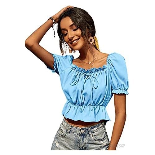 Milumia Women's Boho Square Neck Puff Sleeve Ruffle Hem Blouse Peplum Crop Top