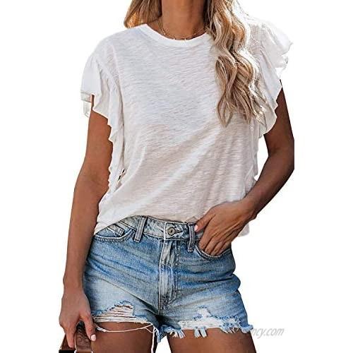 Mosucoirl Womens Crew Neck Summer Ruffle Sleeve Casual Camo T Shirts Tank Tops
