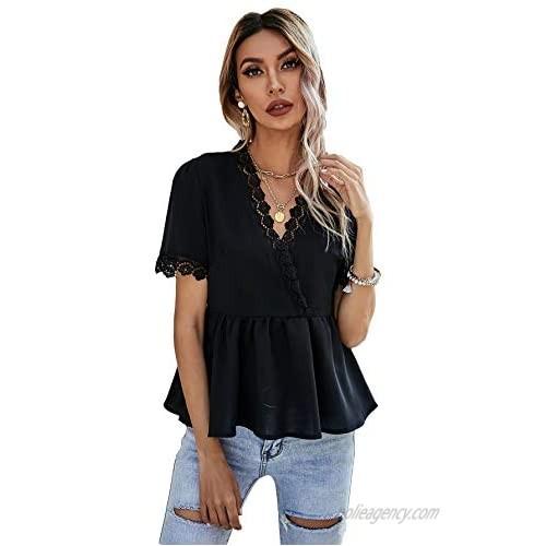 SheIn Women's Short Sleeve V Neck Ruffle Hem Wrap Peplum Blouse Shirt Tops